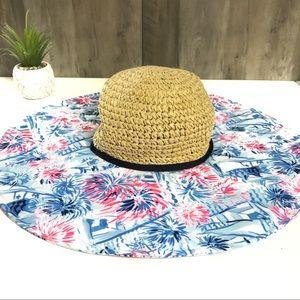 Lilly Pulitzer Crew Blue Straw Beach Hat One Size